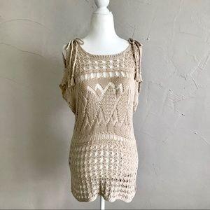 Chicos Crochet Open Knit Top